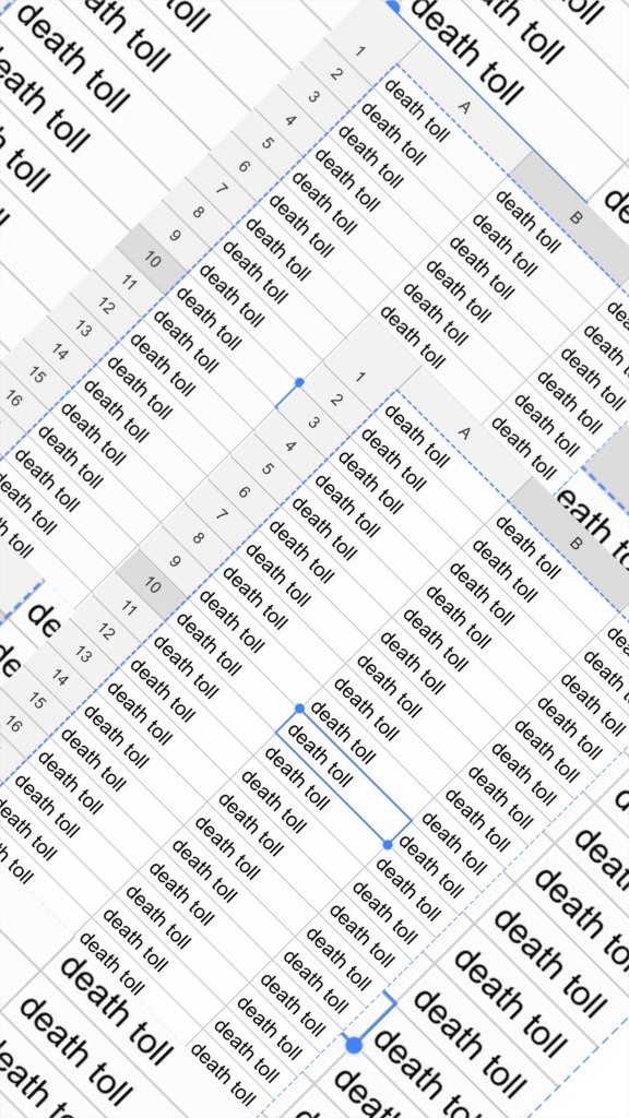 Image of overlapping Excel tables with the words death toll entered into every cell.